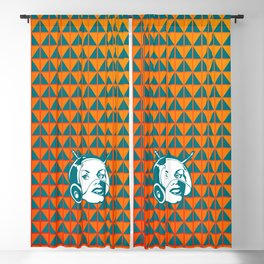 Faces: SciFi lady on a teal and orange pattern background Blackout Curtain