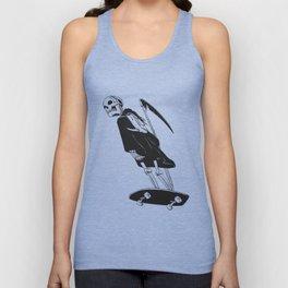 Grim reaper skater - funny skeleton - gothic monster - black and white Unisex Tank Top