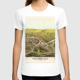 1877 Westerly, Rhode Island Bird's Eye View Lithographic Map Poster T-shirt