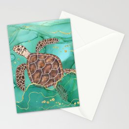 Precious Hawksbill Sea Turtle Swimming in the Emerald Ocean Stationery Cards