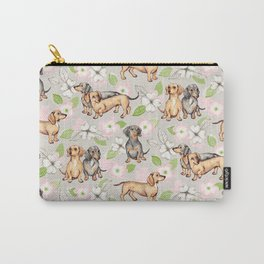 Dachshunds and dogwood blossoms Carry-All Pouch
