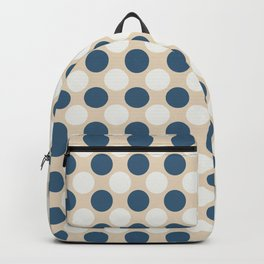 Dark Blue and Off White Uniform Large Polka Dots Pattern on Beige Matches Chinese Porcelain Blue Backpack