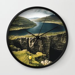 hiker at faroe Wall Clock