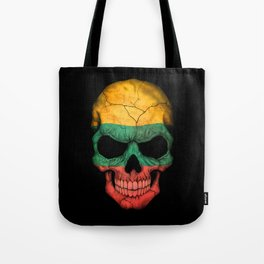 Dark Skull with Flag of Lithuania Tote Bag