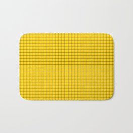 Yellow Grid Black Line Bath Mat