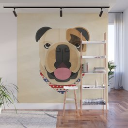 American Bulldog Dog Portrait Wall Mural