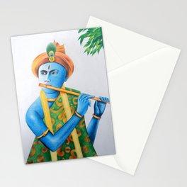 lord krishna playing bansuri blue painting Stationery Cards