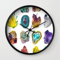 crystals Wall Clocks featuring Crystals by ShannonPosedenti