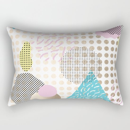 Simply Metallic Memphis Dots Rectangular Pillow