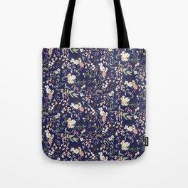 Dark Intricate Floral Pattern Tote Bag