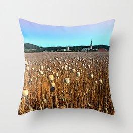 Poppy fields with a sunburn Throw Pillow