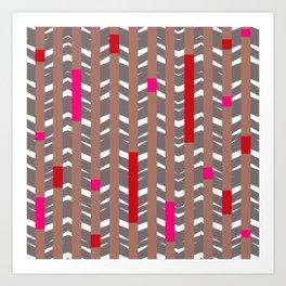 TRIBAL CHEVRON | mauve red Art Print