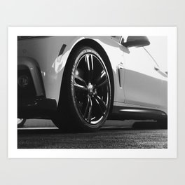 Black Rim Sports Car // White Paint Street Level B&W German Bavarian Motor Automobile Photograph Art Print