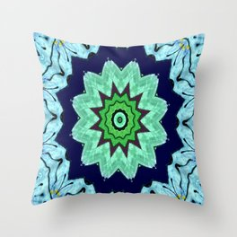 Lovely Healing Mandalas in Brilliant Colors: Light Blue, Dark Blue, Mint, Purple, and Green Throw Pillow