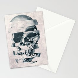 Glitch Skull Mono Stationery Cards