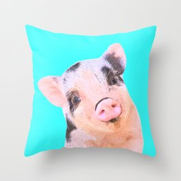 Baby Pig Turquoise Background Throw Pillow