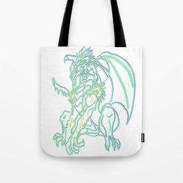 Triple neon glow Dragon Tote Bag