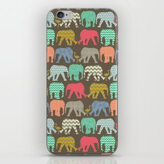 baby elephants and flamingos dark linen iPhone Skin