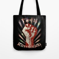 revolution Tote Bags featuring Revolution by PsychoBudgie