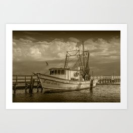 Sepia Tone of the Fishing Boat Miss Ash at Aransas Pass Harbor Art Print