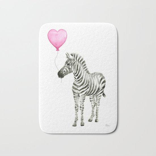 Zebra with Balloon Animal Watercolor Whimsical Animals Bath Mat