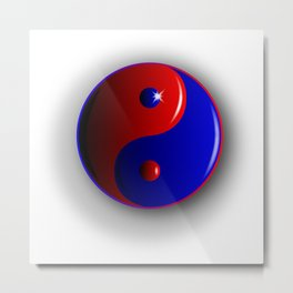 Red And Blue Yin and Yang Metal Print