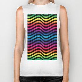 Wiggly Vibrant Multicolour Lines Biker Tank
