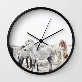 WILD AND FREE  1 - HORSES OF ICELAND Wall Clock