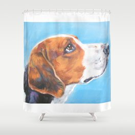 A realistic American Foxhound portrait by L.A.Shepard fine art painting Shower Curtain