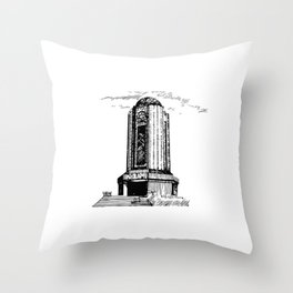 Old Mausoleum Ink Art Throw Pillow