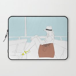 Fashion Girl on the Ferry Laptop Sleeve