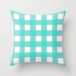 Gingham (Turquoise/White) Throw Pillow