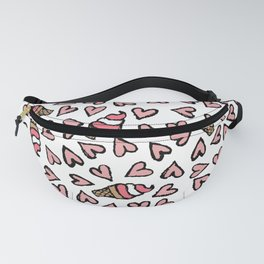 Cute Pink Hearts and Ice Cream Cones Illustrations Fanny Pack