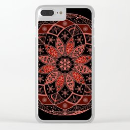 Autumn Fall Mandala Spirograph Art Pattern Design Rosette Clear iPhone Case