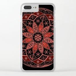 Autumn Fall Mandala Spirograph Art Pattern Design Rosette Clear iPhone Case