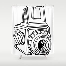 Medium Format SLR Camera Drawing Shower Curtain