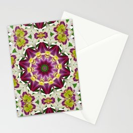 Daylily mandala 1, red-violet, cream and yellow Stationery Cards