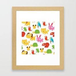 Happy Pet Shop Animals Pattern Framed Art Print