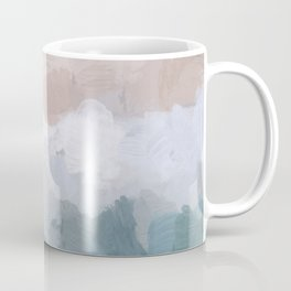 Turquoise Aqua Blue White Dusty Rose Pink Abstract Painting, Modern Wall Art Print, Ocean Sunset Sand Beach Aerial View Coffee Mug