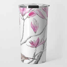 magnolia flowers and birds Travel Mug