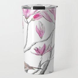 magnolia flowers and birds Travel Mug