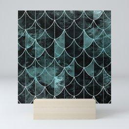 Mermaid scales. Mint and black. Mini Art Print