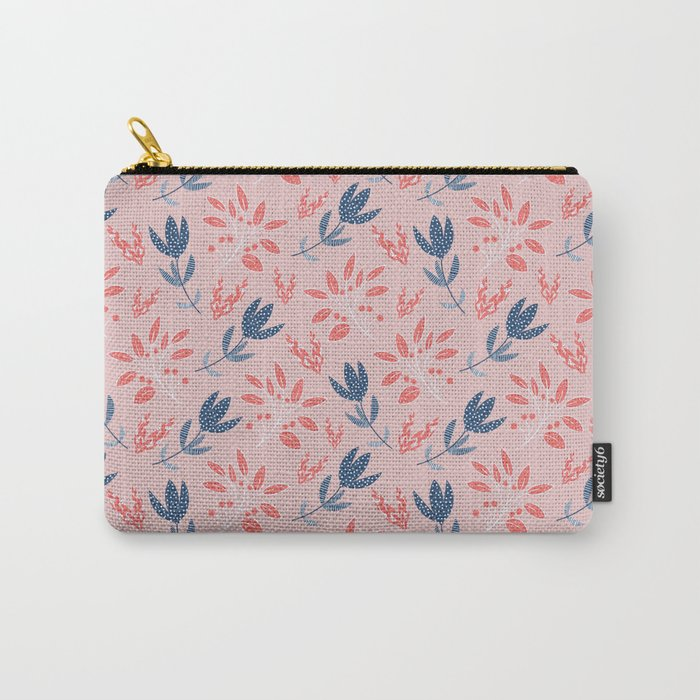 The vintage stylized flowers and berries Carry-All Pouch