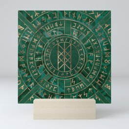 Web of Wyrd - Malachite, Leather and Golden texture Mini Art Print