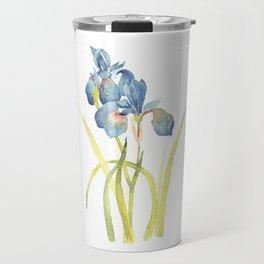 Watercolor flower Iris Siberica Travel Mug