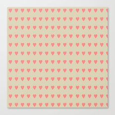 Pastel Heart Valentine Pattern Background Canvas Print