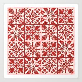 Hawaiian Quilt in Red Art Print