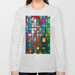 Abstract Modern Art Grid Pattern Long Sleeve T-shirt