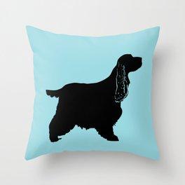 Cocker Spaniel Dog On Blue Throw Pillow