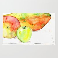 fruits Area & Throw Rugs featuring watercolor fruits by crocomila